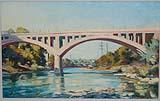 [Landscape, river with arch and truss bridges]
