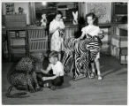 Lincoln School children with large stuffed animals