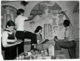 Gove Junior High students painting mural
