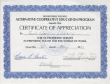 Ford Warren Branch Certificate of Appreciation