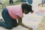 Decker Branch library children's sidewalk chalk event
