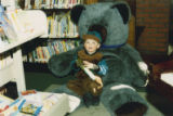 Decker Branch library boy and teddy bear