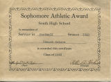 Sophomore Athletic Award