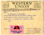 Telegram to Ella Grable from Margaret (Molly) Brown
