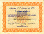 Sam Sandos Certificate of Merit from the American GI forum of the US