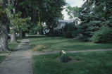 Buchtel House, view of lawn, sidewalk and front