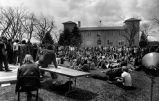 University of Denver, Woodstock West, students on grass, speakers