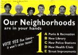 "Flyer, ""Our Neighborhoods are in Your Hands"" with Nettie Moore pictured."