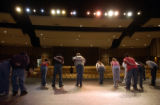 (DENVER, Colo., April 22, 2004) Onstage as an ensemble the cast practices a part of the play near...
