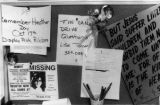 A bulletin board located in Heather Dawn Church Organization's office in Colorado Springs is...
