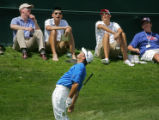 U.S. golfer Mike Sposa reacts after narrowly missing an eagle attempt on the 17th green during...