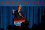 (DENVER, COLO., JUNE  21, 2004)   Democratic Presidential Candidate, John Kerry, speaks during a...