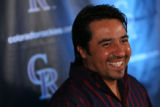MJM221  Former Colorado Rockies player, Vinny Castilla appears at a press conference at Coors...
