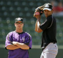 UTDP207 - ** SPECIAL TO THE ROCKY MOUNTAIN NEWS ** Casper Rockies pitching coach Mark Thompson...