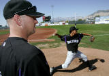 UTDP209 - ** SPECIAL TO THE ROCKY MOUNTAIN NEWS ** Casper Rockies pitching coach Mark Thompson...