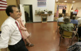 7th Congressional Democratic candidate Ed Perlmutter, left, who needs to be seen as a moderate,...