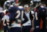 Broncos field goal kicker Jason Elam watches the special teams practice at Dove Valley Wednesday...