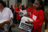 Rally to increase the minimum wage on the west steps of the Colorado State Capital in Denver,...