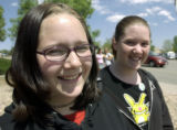 (ARVADA, Colo., May 6, 2004)  Lauren White, and Ashliegh Ramsey (L-R) , both eighth graders at...