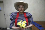Priscilla McCutcheon, (cq), portraitized before rehearsals. Play rehearsals for VIVA, an...