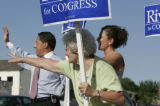 GOP 5th District Congressional Candidate Lionel Rivera,(cq) left, his mother-in-law Connie...