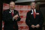 GOP 5th District Congressional Candidate State Se. Doug Lamborn is congratulated by candidiate...