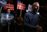 Bob Beauprez shakes the hand of supporter after answering some questions by reporters. Bob...