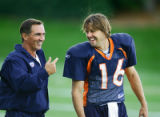 The mood was a bit more lighthearted than usual at during Broncos practice Thursday August 24,...