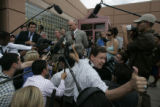 Sheriff Joe Pelle talked to the media outside the Boulder County Jail  after the van carrying...