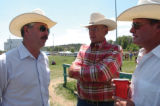John Salazar, left, campaigning in Bayfield for the 3rd Congressional District seat, talks to Sen....