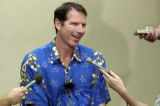 (Denver, CO , June 21,2004)  Nuggets GM Kiki Vandeweghe meets with the media to talk about the NBA...