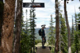 Rocky Mountain Adventure.  Eric Zerowin(cq), an employee of Denver Bike Tours, checks the...