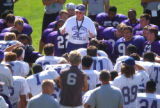 SPORTS --- Weber State University football head coach Ron McBride talks to his players during the...