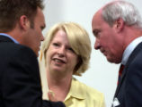 (FT. COLLINS, Colo., June 28, 2004)  U.S. Representative Marilyn Musgrave talks with her chief of...