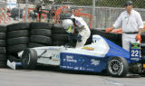 Joel Jackson, driver for Gelles Racing of Kingston, Jamaica walks away from his car uninjured...