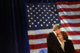 Seattle, Wash.,-Presidential candidate John Kerry kisses his wife, Teresa Heinz Kerry, on their...