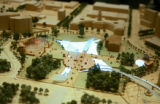 Photo of a wooden replica of what Civic Center Park might look like in the future. The long...