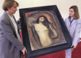"NY120 - ** FILE **  Employees of Christie's carry Edvard Munch's painting ""Madonna"" into..."