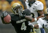 Colorado Buffaloe wide reciever Patrick Williams, left, can't keep a hold of a touch down pass...