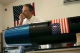 Up Aerospace President Jerry Larson (cq) shows off the rocket the company plans to launch in New...