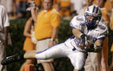 TNMH106 - Air Force wide receiver Spencer Armstrong catches a 24-yard pass and reaches for the...