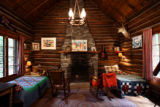 Interior of Rita Derjue and Carle Zimmerman's one-room cabin on Indian Flats near Idaho Springs...