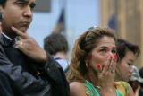 9/11 story.   New York on Sept 11, 2006.    Maria Cetrola (cq), of New York, right, stands outside...