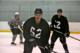 Colorado Avalanche rookie Paul Stastny goes through drills at rookie camp Monday morning September...
