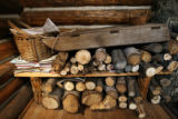 The woodpile in the one-room cabin of Rita Derjue and Carle Zimmerman on Indian Flats near Idaho...