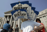 (L-R)  Sammye Wheeler-Clouse (cq) and Heather Clifton (cq) both campaign workers for Bill Ritter,...
