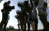 Standley Lake H.S. coach Don Morse calls a play for the offense  as the Standley Lake varsity...