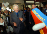 PHILADELPHIA - MAY 10:  Southwest Airlines Chairman Herb Kelleher marches in a parade during a...