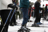Skiers line up at the bottom of the mountain at Copper Mountain on Friday, December 30, 2005. ...