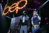Front man and woman for the Black Eyed Peas will.i.am (Will Adams), left, and  Fergie (Stacey...